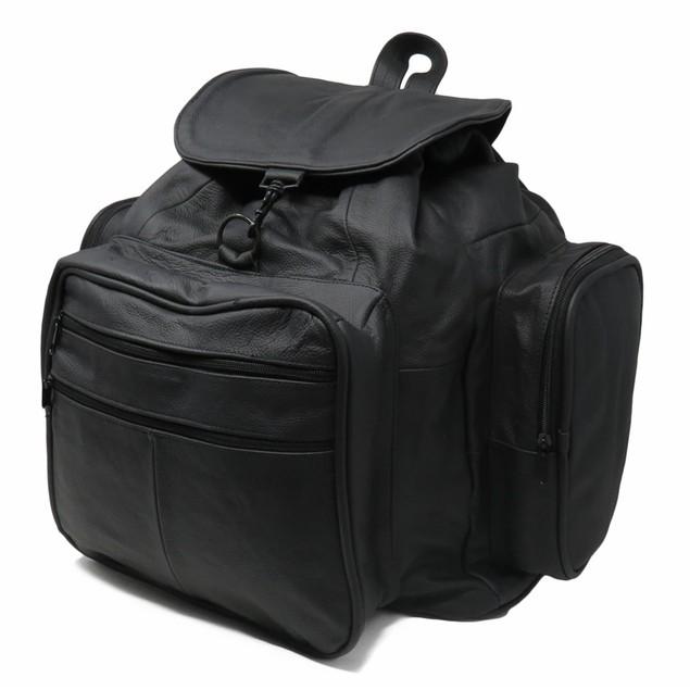 Jumbo Strong Black Leather Backpack