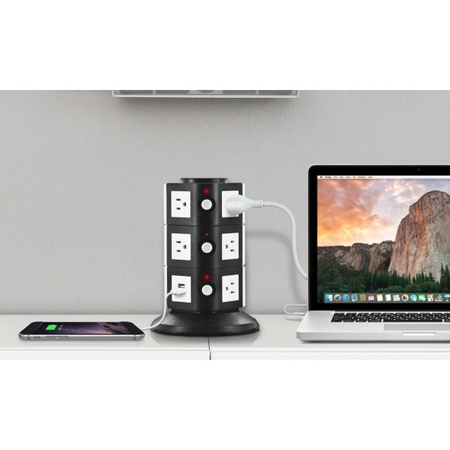 Aduro 11 Outlets and 2 USB Ports Surge Protector Multi Charging Station