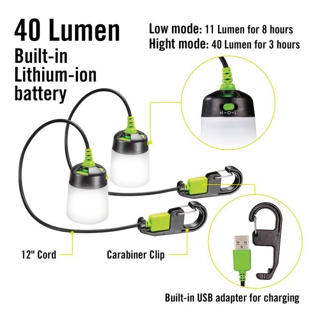 2-Pack Lumavine LED Hanging Mini Lantern