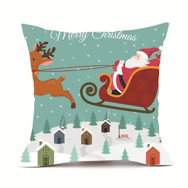 Merry Christmas Pillow Cases Cashmere Sofa Cushion Cover Home Decor A