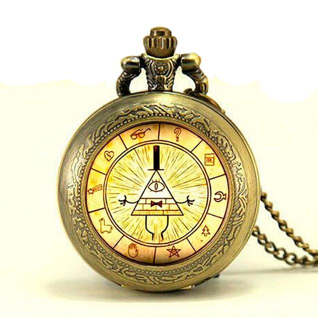 Bill Cipher Wheel Bronze Pocket Watch Necklace