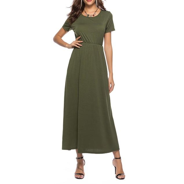 Women's Short Sleeve Solid Maxi Dress