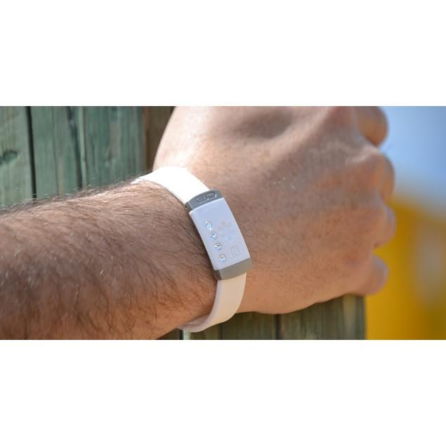 Smart Medical ID & Alert Bracelet - White with Crystals