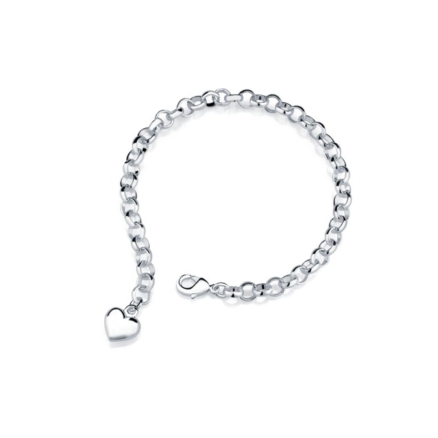 Heart Charm Bracelet in Sterling Silver - 3 Colors