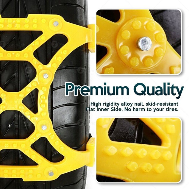 Zone Tech Car Tire Truck Snow Ice Mud Chains Anti Skid Pattern Traction