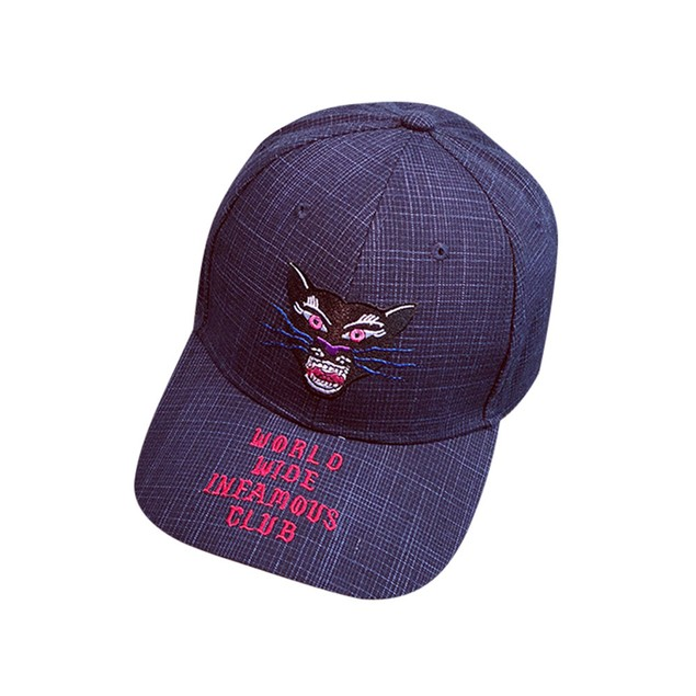 Embroidery Letter Cat Baseball  Cap Girls Snapback Hip Hop Flat Hat  y