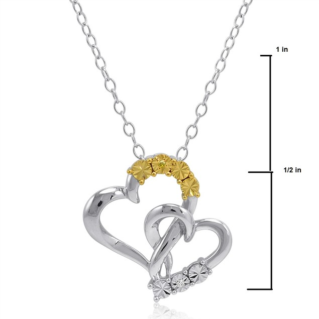 Yellow and White Diamond Heart Pendant Necklace in Sterling Silver