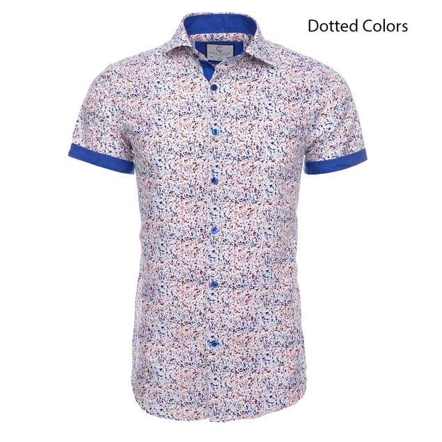 Suslo Couture Men's Slim Fit Designable Short Sleeve Button Down