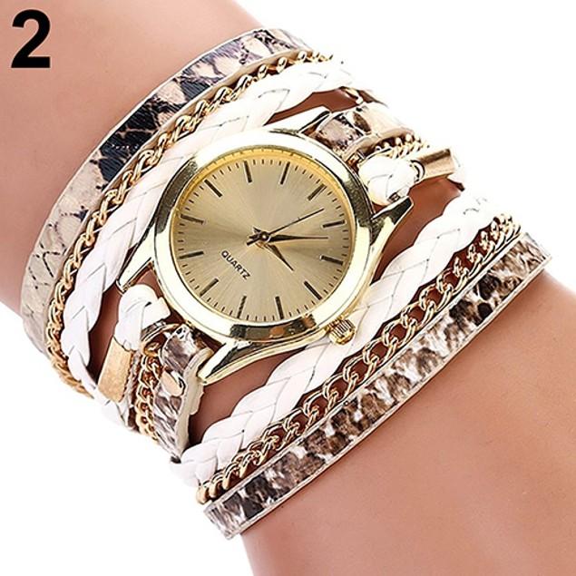 Women Casual Multilayer Weave Faux Leather Bracelet Wrist Watch