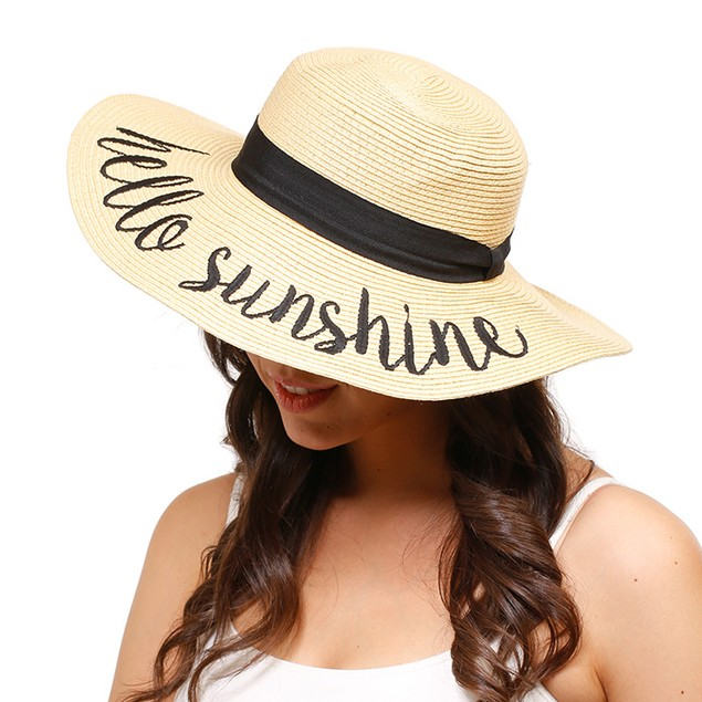 Embroidered Themed Adjustable Beach Floppy Hat