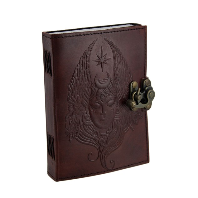5 X 7 In. Moon Goddess Embossed Brass Clasp Journal