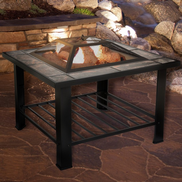 "Pure Garden 30"" Square Marble Tile Fire Pit by Pure Garden"