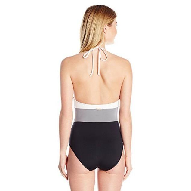Vince Camuto Women's Color Blocked One Piece Swimsuit, Black, SIZE 12