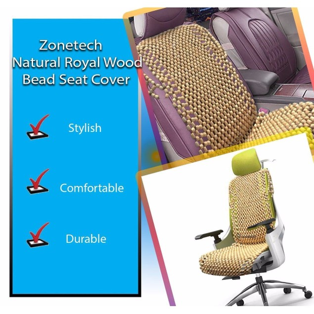 Zone Tech Natural Wooden Beaded Car Seat Cover Massage Cool Cushion