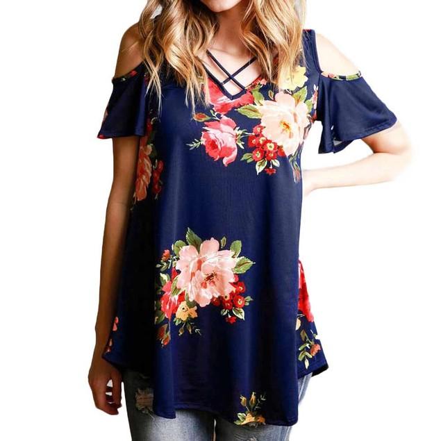 Cold Shoulder Floral Shirt