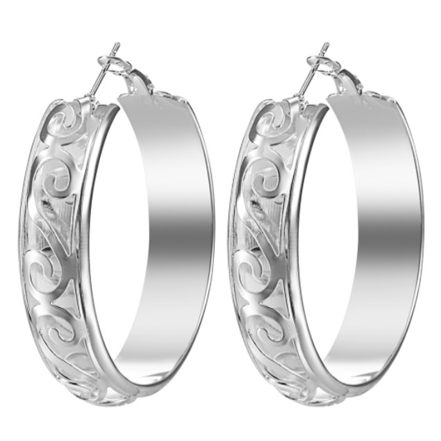 Fancy Hoop Earrings - 2 Colors