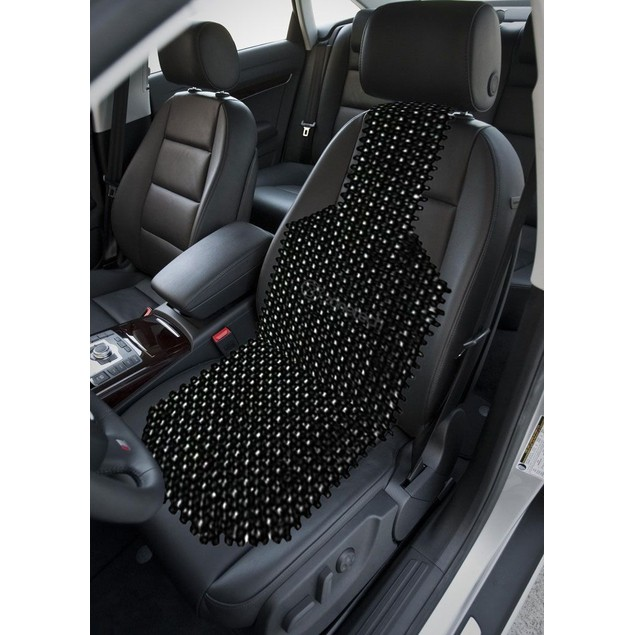 Zone Tech Black Wooden Beaded Massage Back Thigh Car Seat Chair Cushion