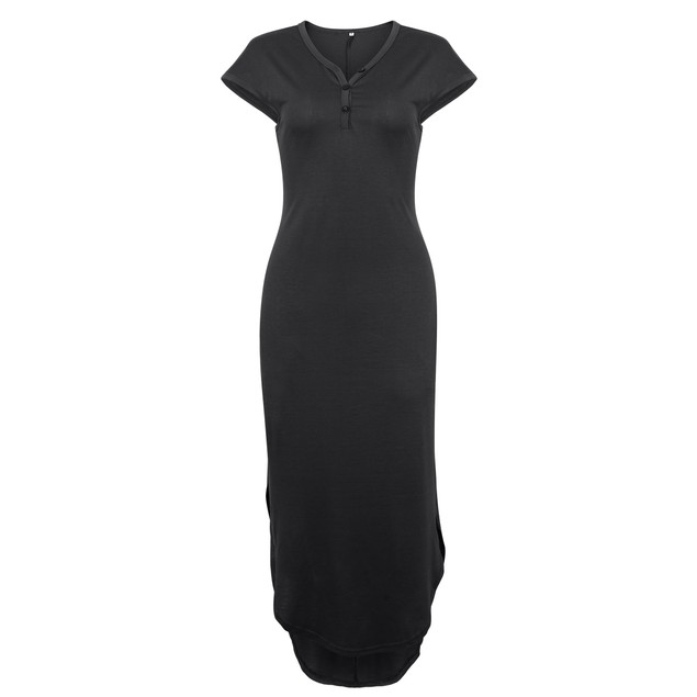 Short Sleeve Button Top Dress with Side Slits