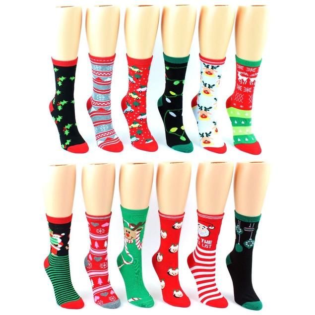 Set of 12 pair women crew holiday socks