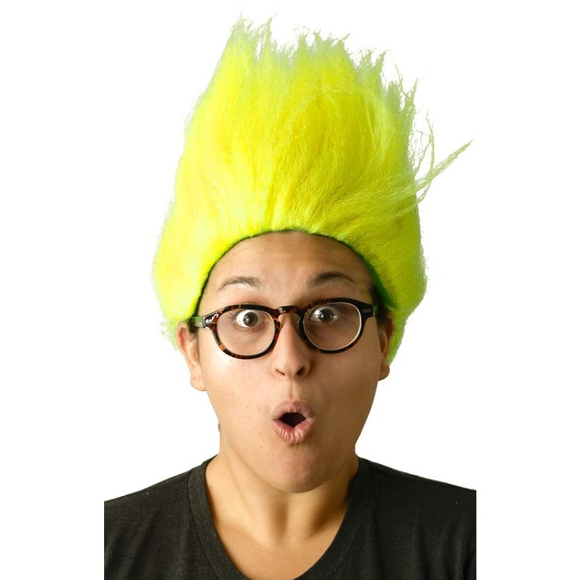 Neon Yellow Adult Troll Wig Gnome Clown Doll Costume Sports Team Fun 90's