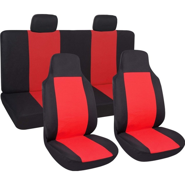 Zone Tech Red/Black 7 Piece Cloth Car Seat Covers High Back Buckets & Bench