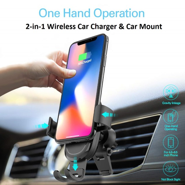 Fast Wireless Car Charger & Mount