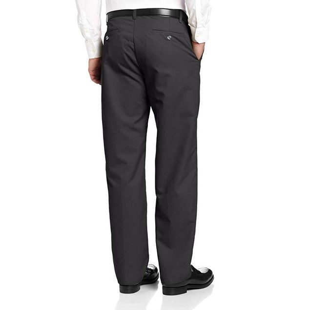 Lee Men's Total Freedom Relaxed Fit Flat Front Pant - 42W x 30L - Blac