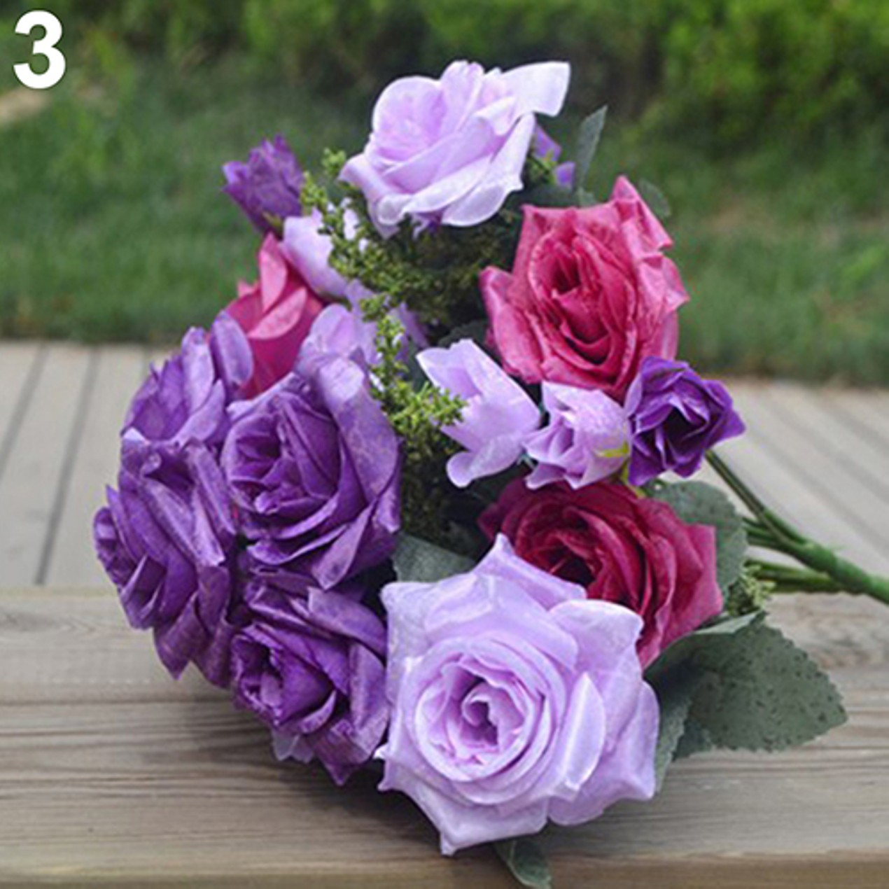 1 Piece 13 Heads Flower Rolled Rose Artificial Cloth Rose Bouquet