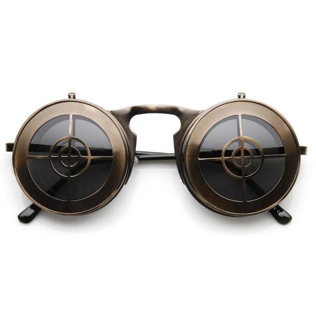 Flip Up Bullseye Bronze Sunglasses