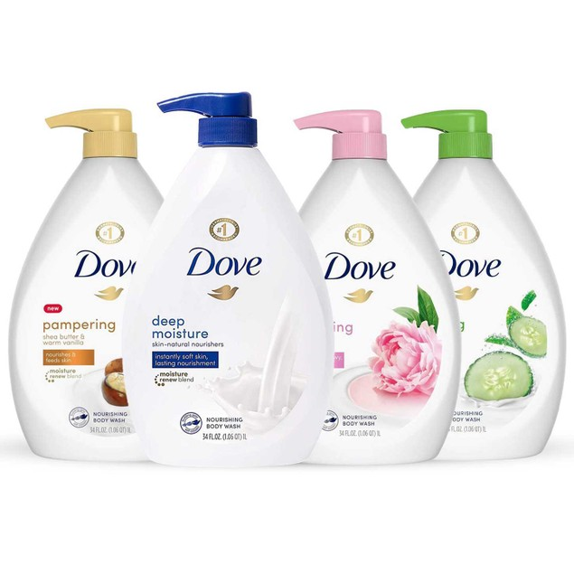 4-Pack Dove Shower Gel Body Wash with Pump 34oz/1L
