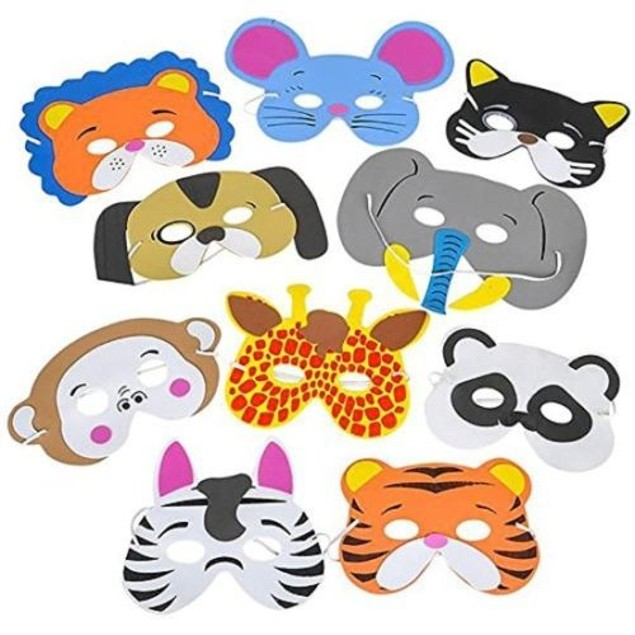 12 Assorted Foam Animal Masks for Birthday Party Favors