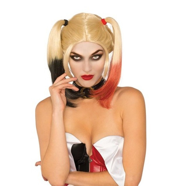 Deluxe Harley Quinn Wig Sexy Womens Adult City Asylum Batman Super Villain