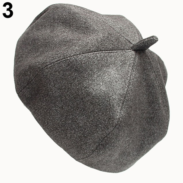 Women Pure Color Casual Warm Suede Beret