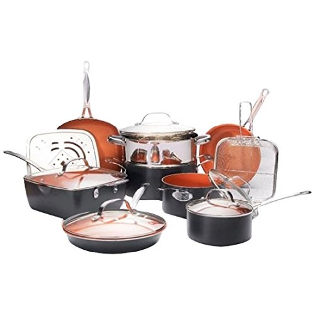 Gotham Steel Ultimate 15 Piece Cookware Set Non-stick Copper Ti Cerama