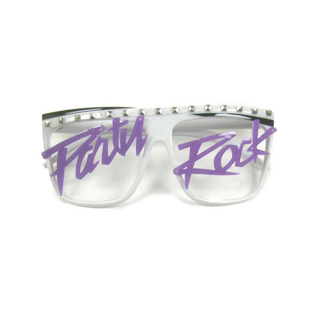 White Framed Party Rock Glasses LMFAO Shuffling Clubbing Rave Novelty Adult