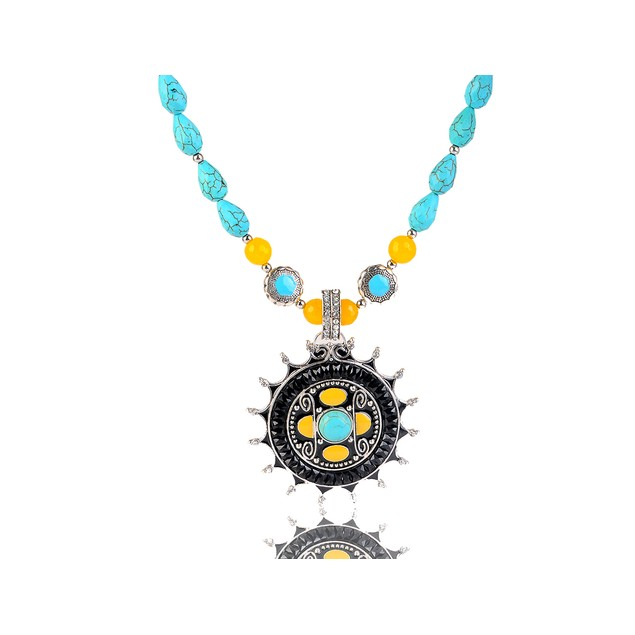 Novadab Princess Turquoise Pear Drop Beads, Natural Yellow Stone Necklace