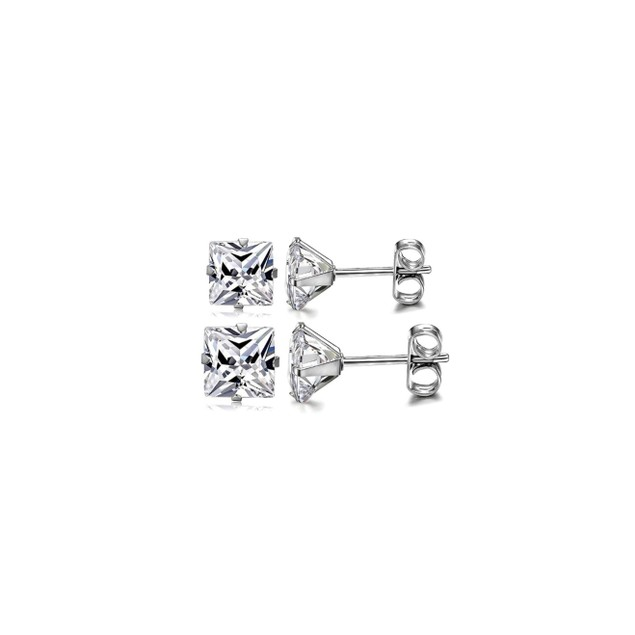 Solid Sterling Silver Princess Cut Love Studs - 2 Sizes