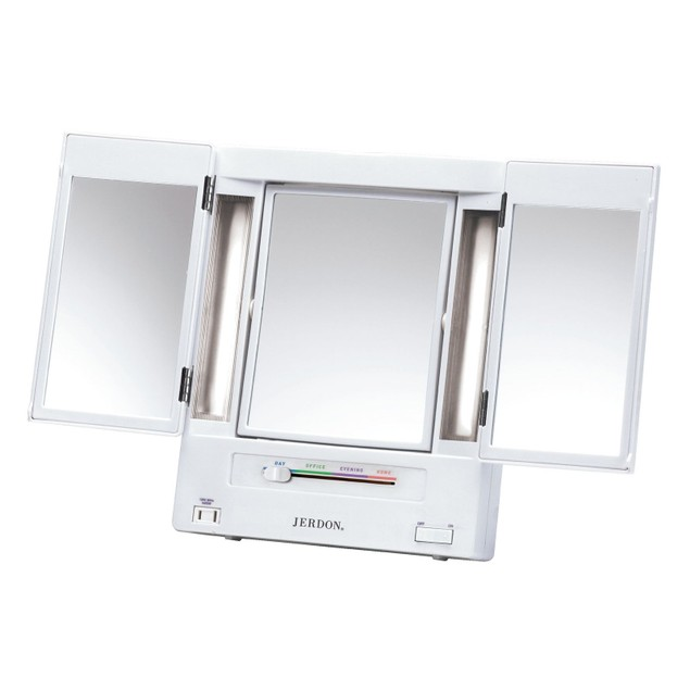 Two-Sided Lighted Makeup Mirror with 5x Magnification, White