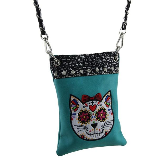 Embroidered Sugar Cat Rhinestone Turquoise Cross Womens Cross Body Bags