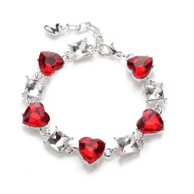 Novadab Red Heart Gem Tennis Bracelet, Silver Plated Red Bracelet  6.5