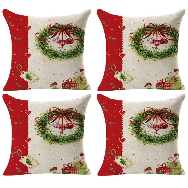 4PCS Linen Square Throw Flax Pillow Case Decorative Cushion Pillow Cover A