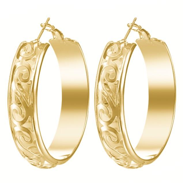 Fancy Hoop Earrings - 2 Colors