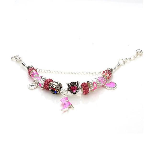 Novadab Pink Ribbon Breast Cancer Awareness Charms Bracelet