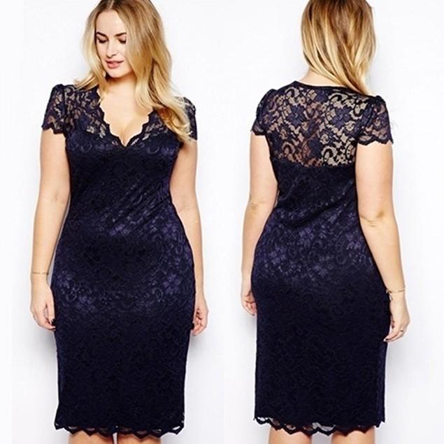 Women V-Neck Floral Lace Bodycon Dress