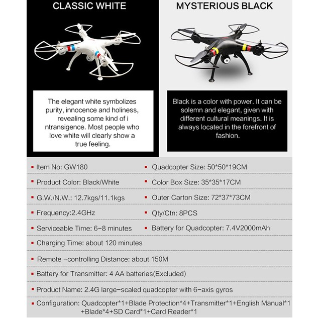 Global 6-axes 2.4G Gyro RC Drone Quadcopter With 2.0MP HD Camera  VS X8