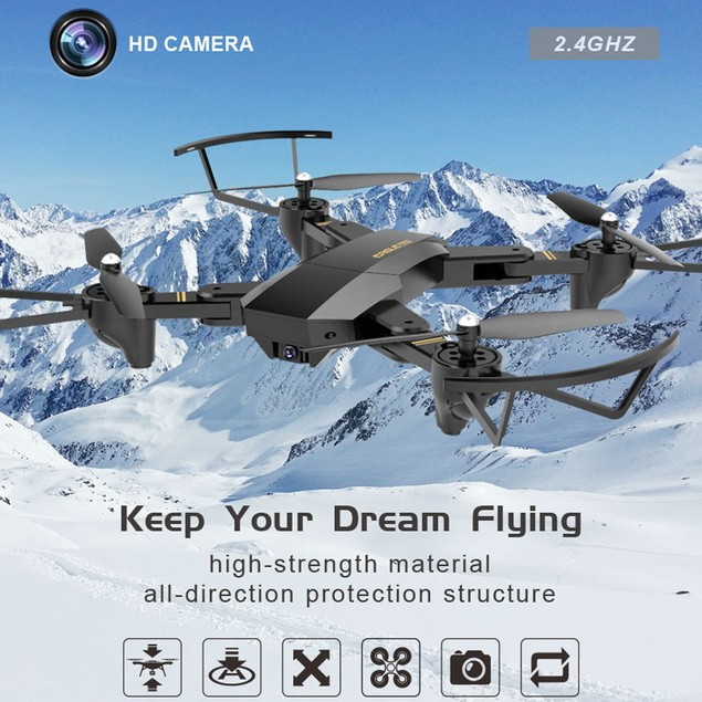 2.4G 4-Channel 6Axis Altitude Hold HD Camera RC Drone Selfie Foldable
