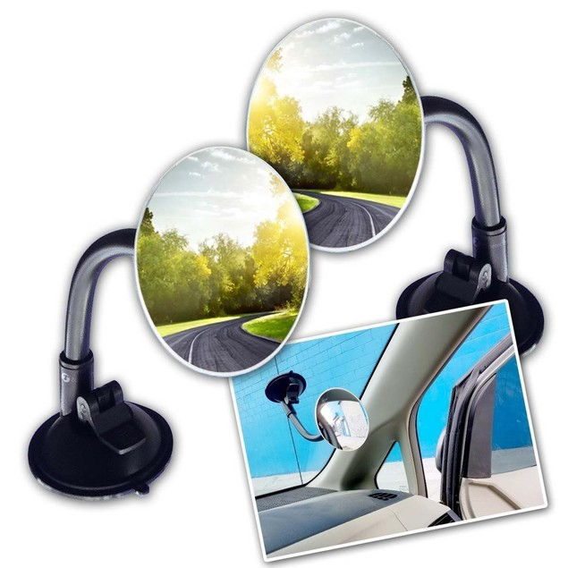 Zone Tech 2 Round Blind Spot Mirror Long Arm Suction Angle Rear View