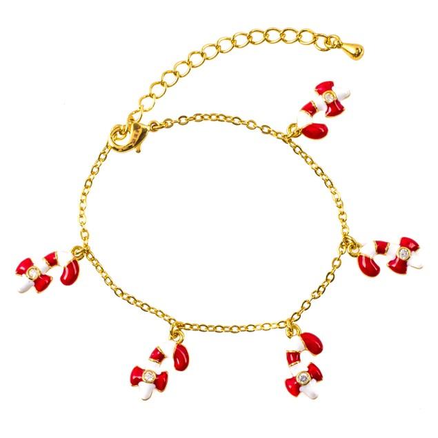 18K Gold Plated Enamel Candy Kane With 5 Dangling Candy Kane & CZ Bracelet