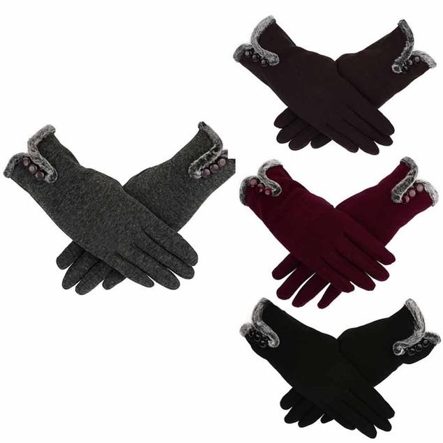 Women Cashmere Keep Warm Driving Full Finger Gloves Touch Screen Glove