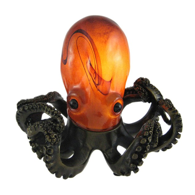 Colorful Swirled Glass Octopus Accent Lamp Bronzed Accent Lamps
